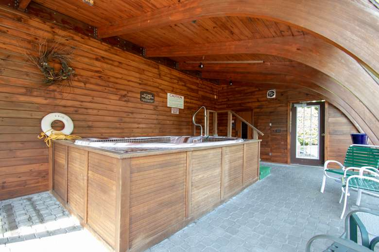 wooden sauna and jacuzzi