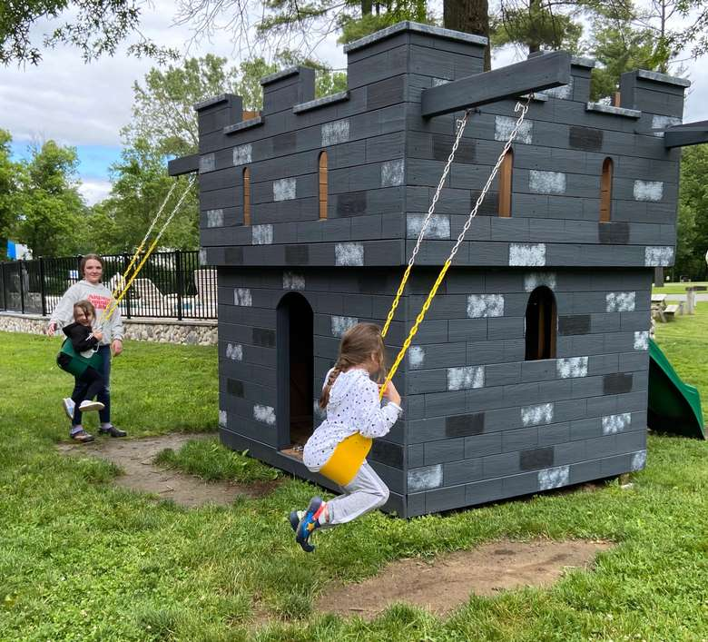 castle playground with children playing