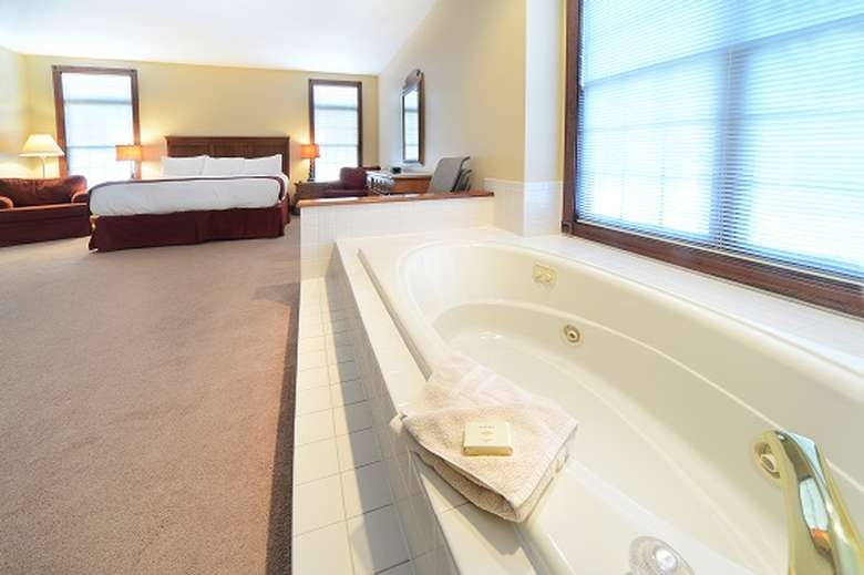 a Jacuzzi in a room