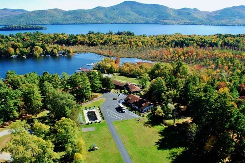 aerial view of lake george and surrounding trees in the fall