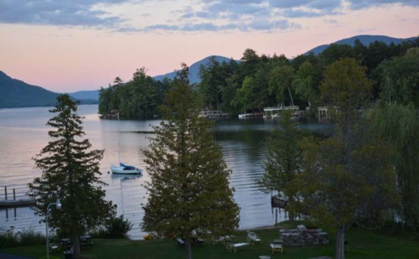 Experience a beautiful Lake George sunset from your lakefront resort room!