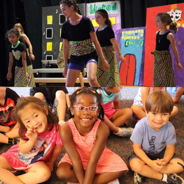 kids performing in theater and kids sitting on the floor