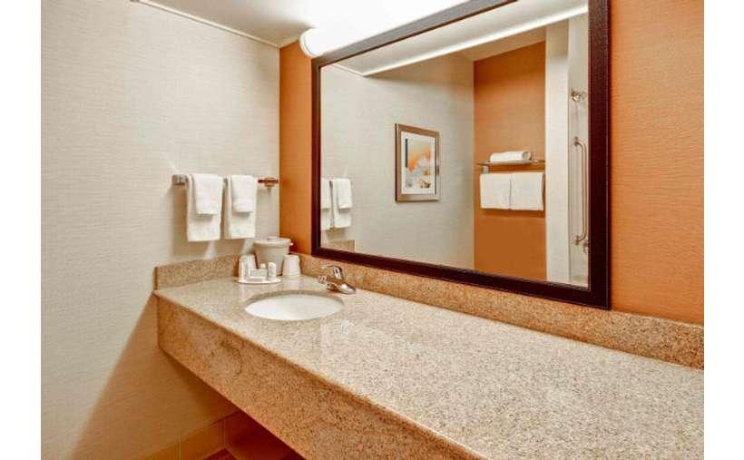 long sink countertop in a bathroom