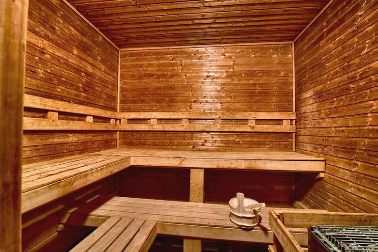 a large wooden sauna space