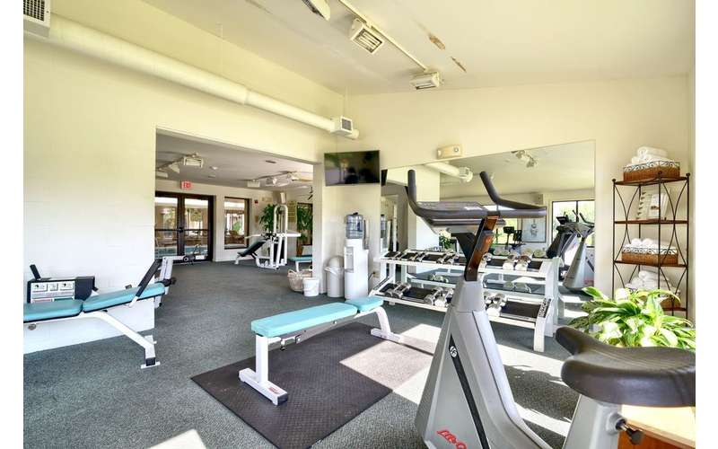 a fitness training center inside a hotel
