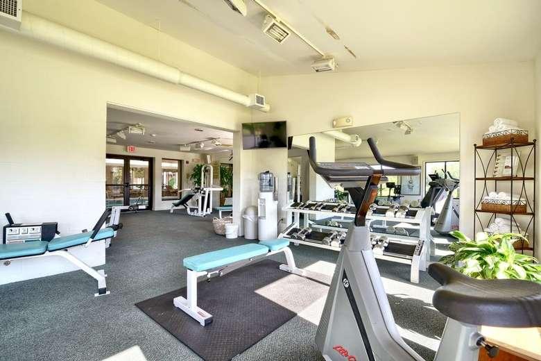 a fitness training center inside a hotel