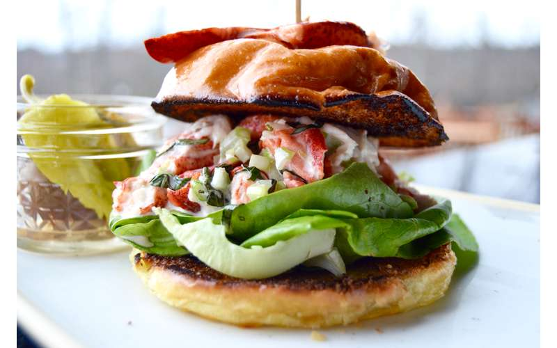 what looks like a seafood burger