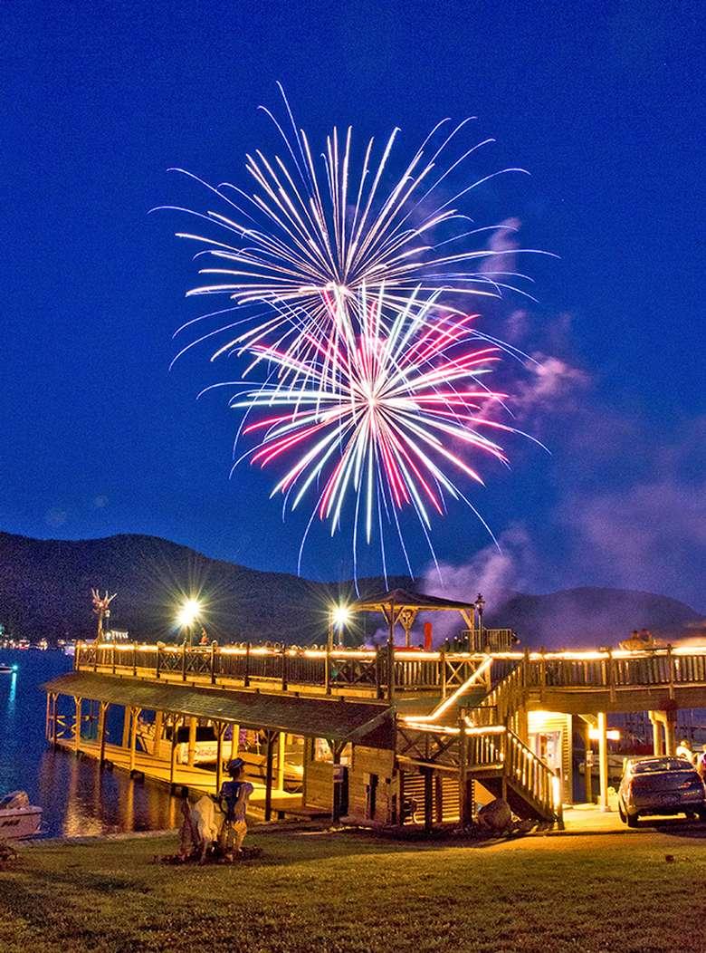 fireworks above the boardwalk restaurant deck