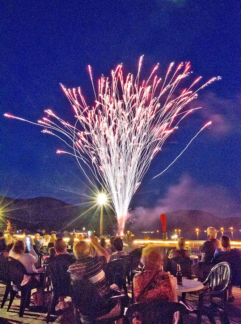 fireworks viewed from the boardwalk restaurant deck
