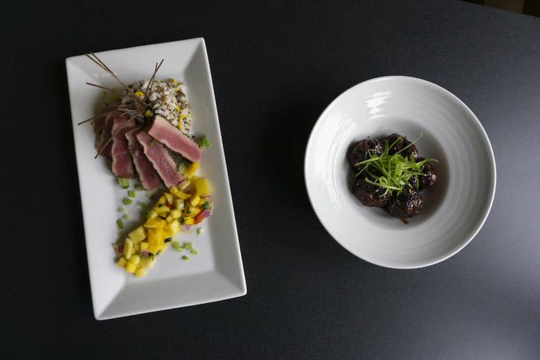 Seared Tuna Salad & Hoisin Meatballs
