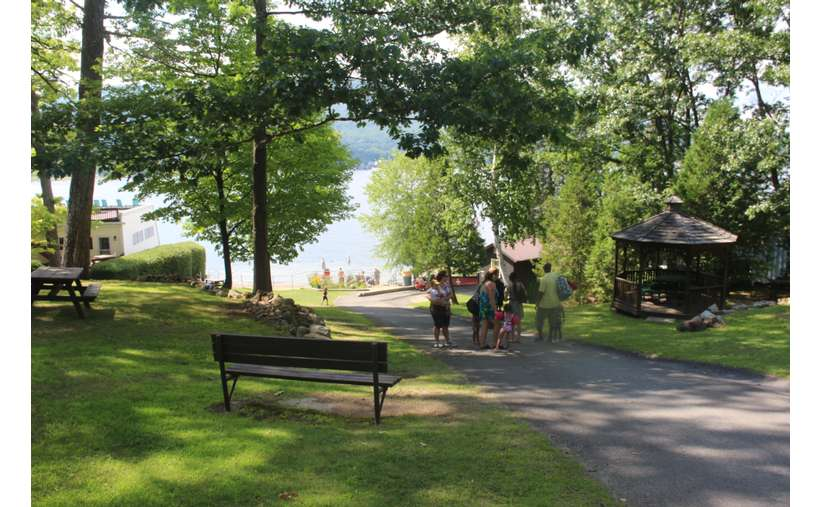 View of walkway down to Ushers Beach in Lake George