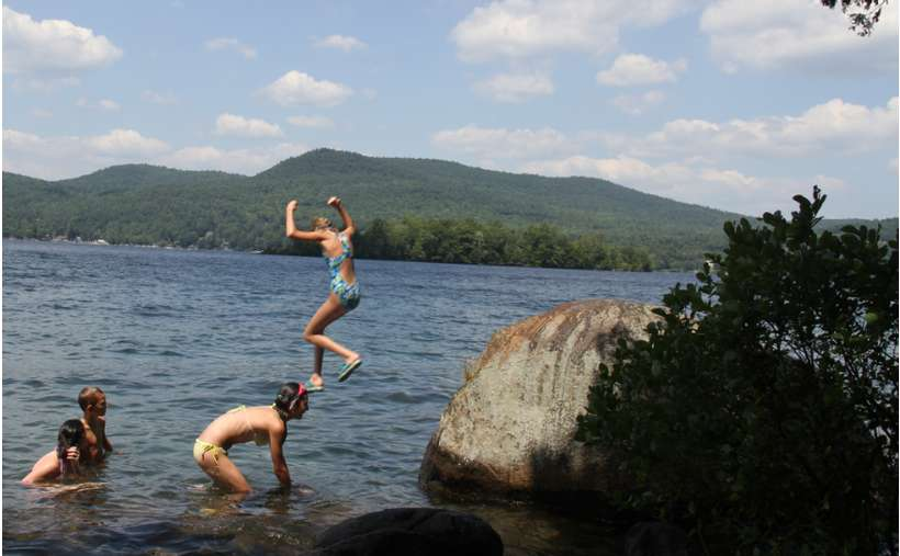 We don't recommend this, lake levels can be too low to jump, but there is a nice rock for jumping - WHEN the lake level is high enough.  Be forewarned, we are not recommending jumping.