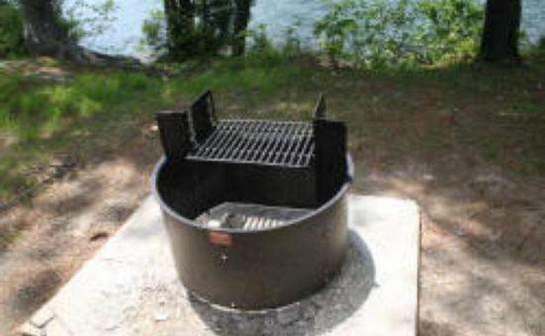 a round grill outside