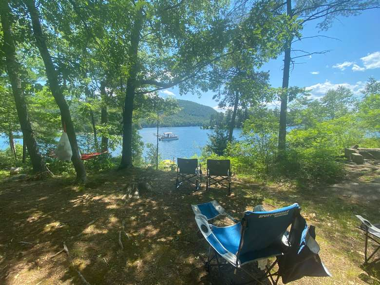 Campsite 3: View of of Lake George and firepit