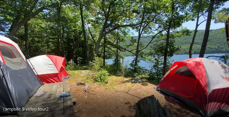 View of three tents on Campsite 9