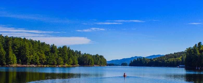 Paddling north on Long Lake