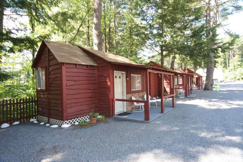 row of small cabins