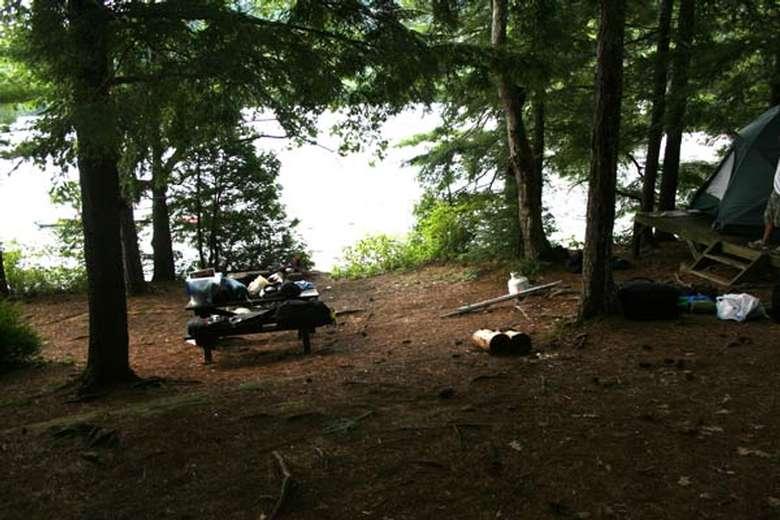 a few picnic tables near the shoreline