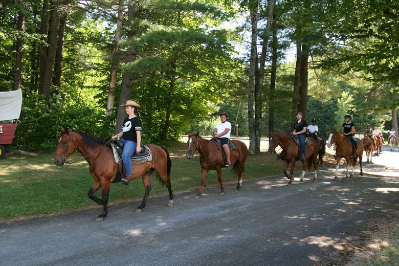 group of people on a horseback trail ride