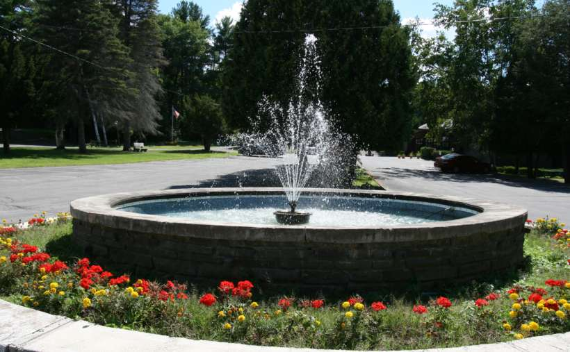 This beautiful outdoor fountain is located by the free parking lots.