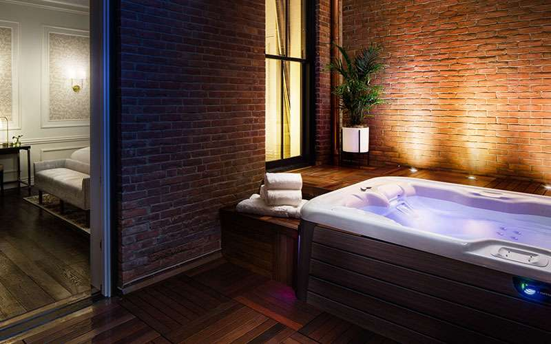 a spa room with dim mood lighting