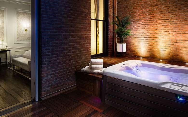 a spa room with dim mood lighting