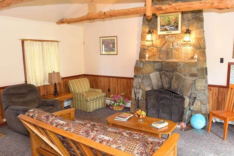living room with stone fire place