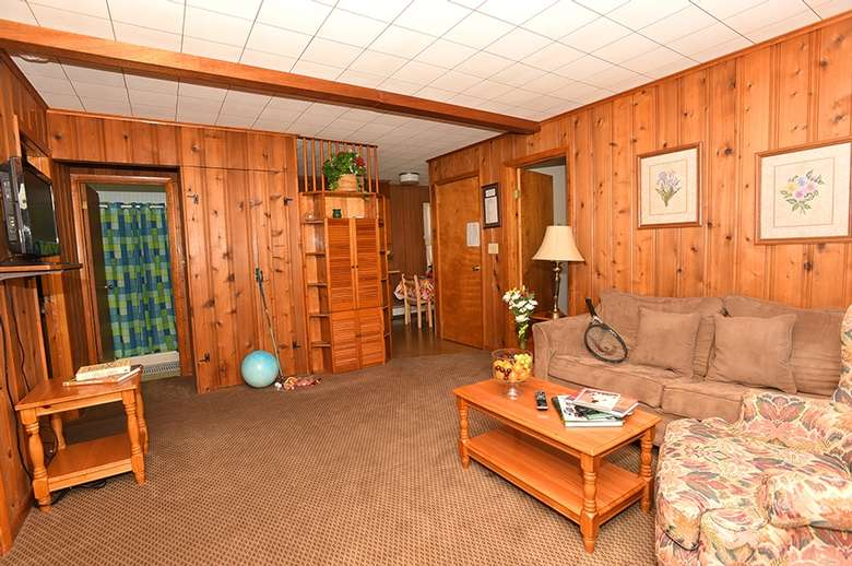 living room with wood panel walls, couch