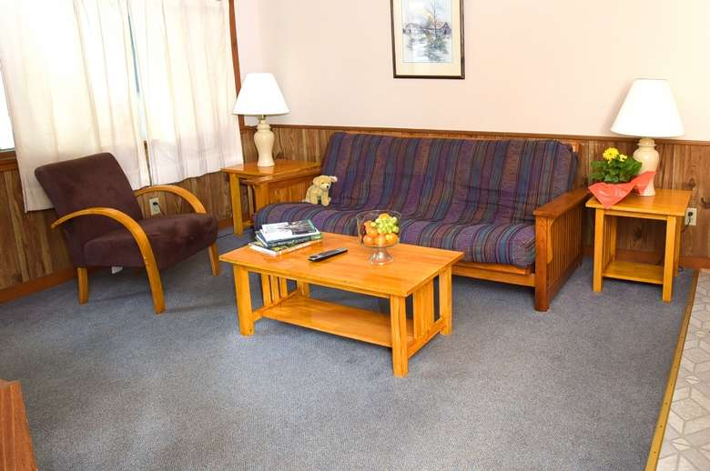 living room area with futon, two lamps, small coffee table, chair