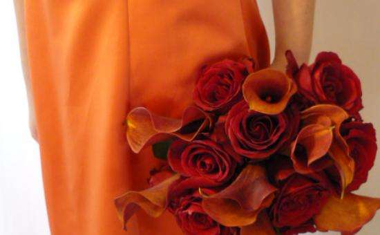 red roses and sunset callas by dress