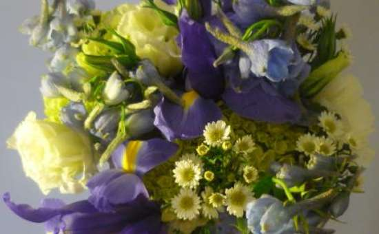 Blue and yellow flower bouquet