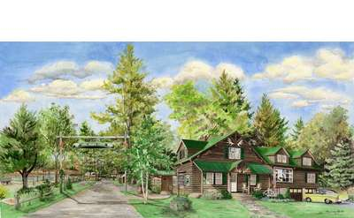 artistic painting of a rustic lodge and cabins in the woods