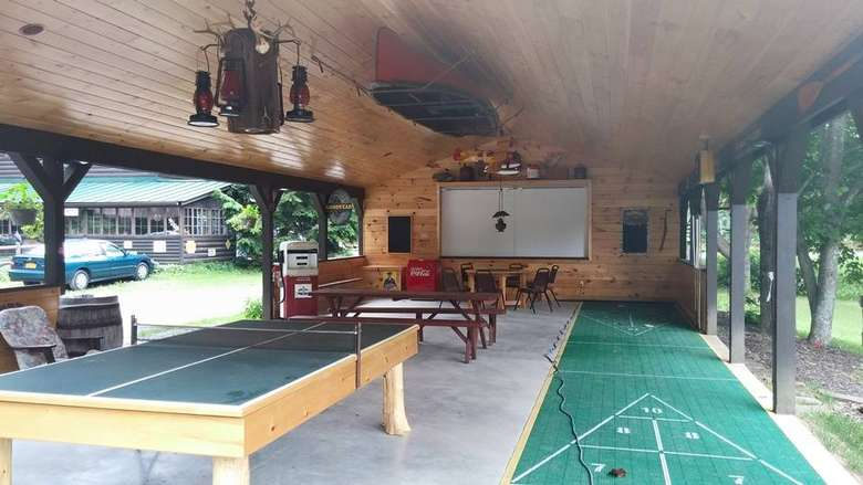 Shuffleboard court and ping pong table