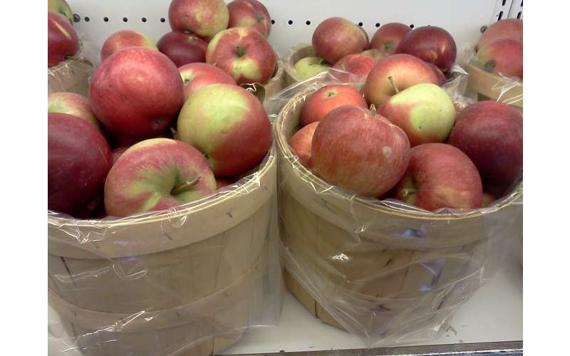 two large baskets of apples