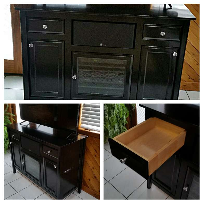 three images of a black entertainment center
