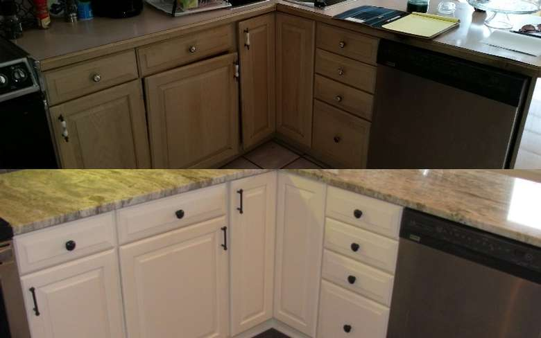 A split view showing before and after; before is faded wood with formica countertops; after is white cupboards with granite countertops
