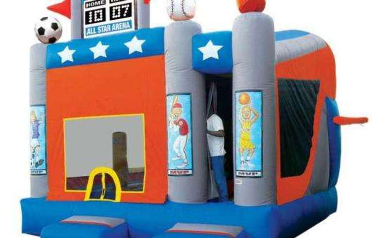 An inflatable sports arena
