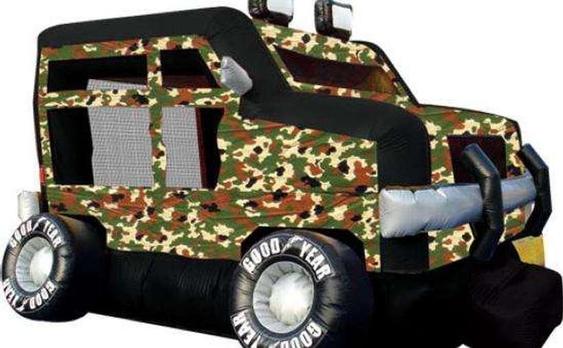 An inflatable camo hum-v