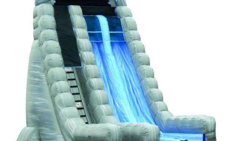 An inflatable water slide