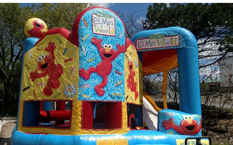 An Elmo World bounce house
