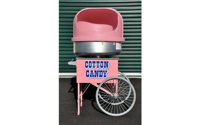 A cotton candy machine with wheels
