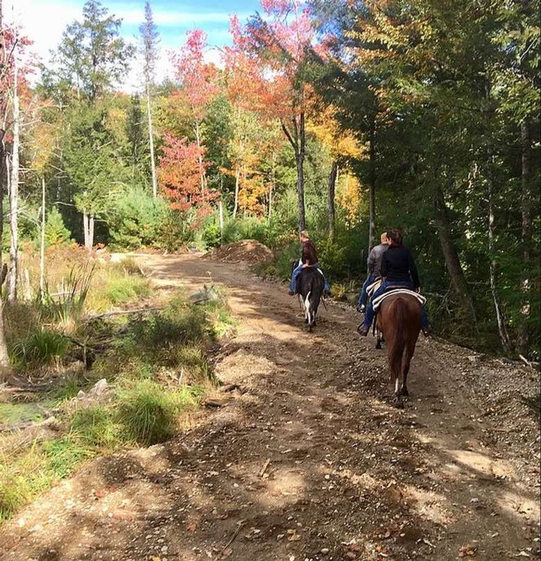 three people horseback riding in autumn