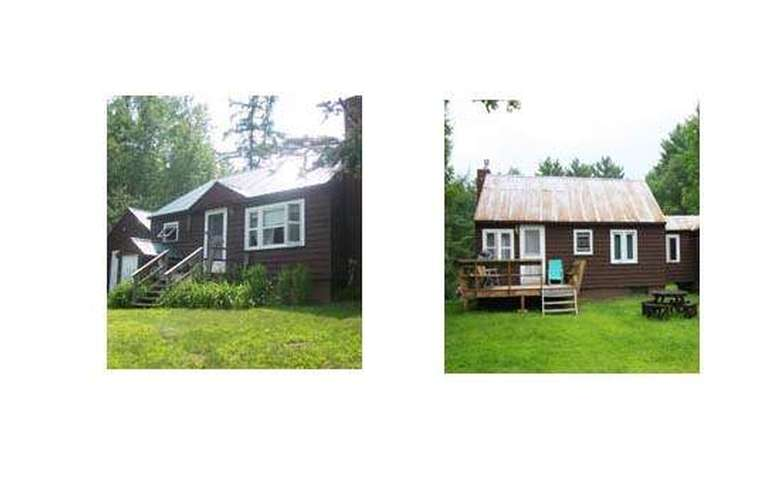 two side-by-side images of a log cabin's exterior