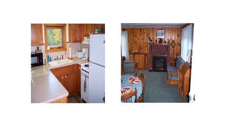 two side-by-side images, one of a kitchen in a log cabin and one of a sitting room in a log cabin