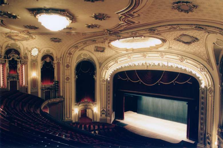 palace theater auditorium and stage as seen from the balcony