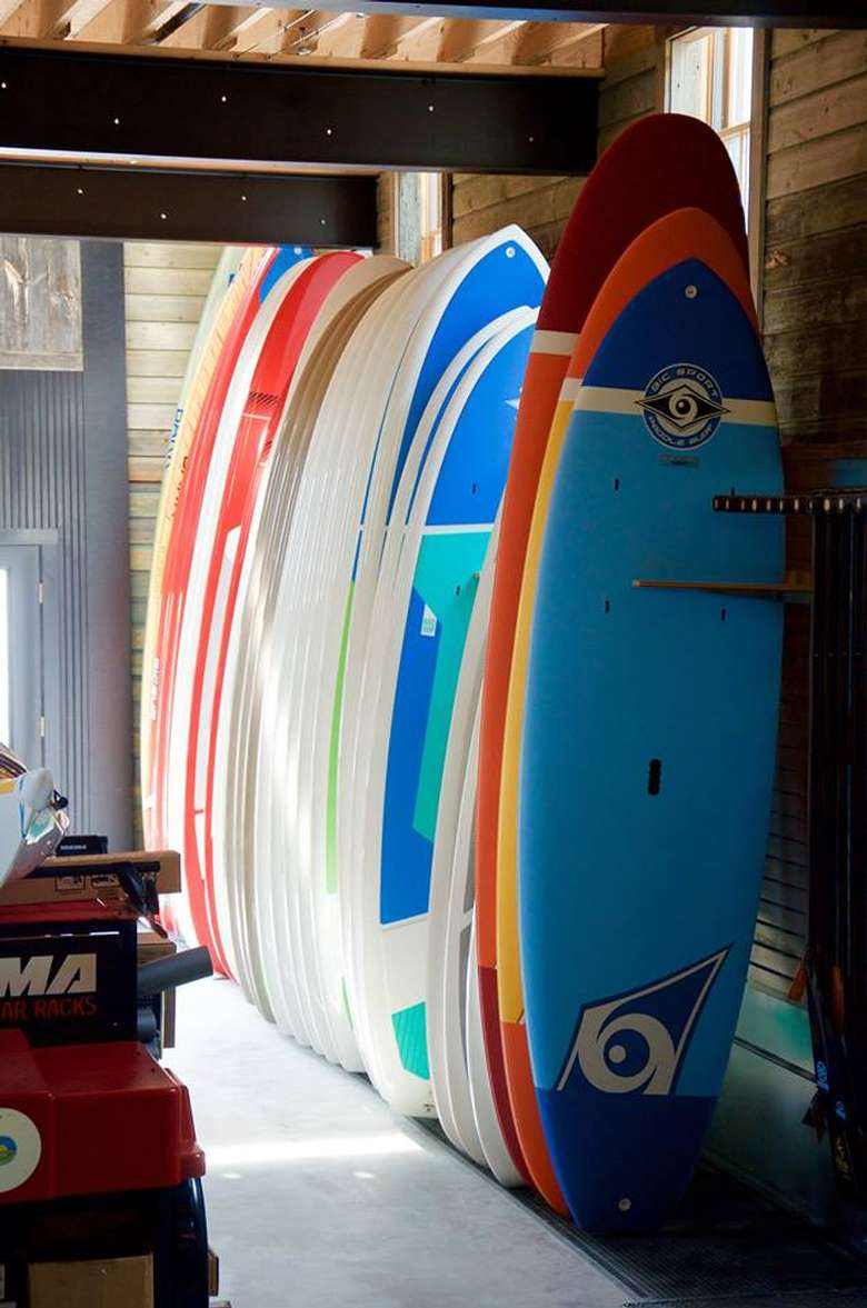 row of paddleboards