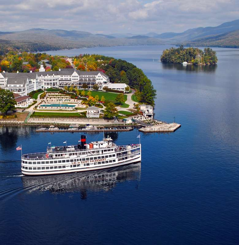 aerial picture of the lac du saint sacrement cruising past the sagamore on lake george