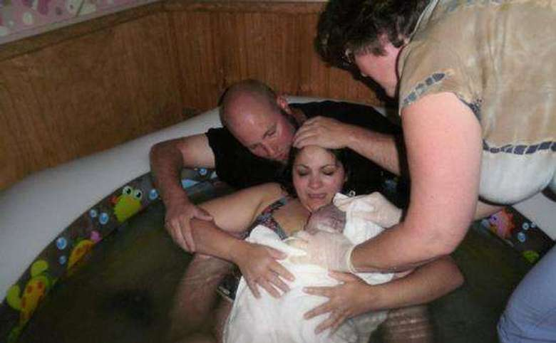 couple immediately after performing a successful water birth