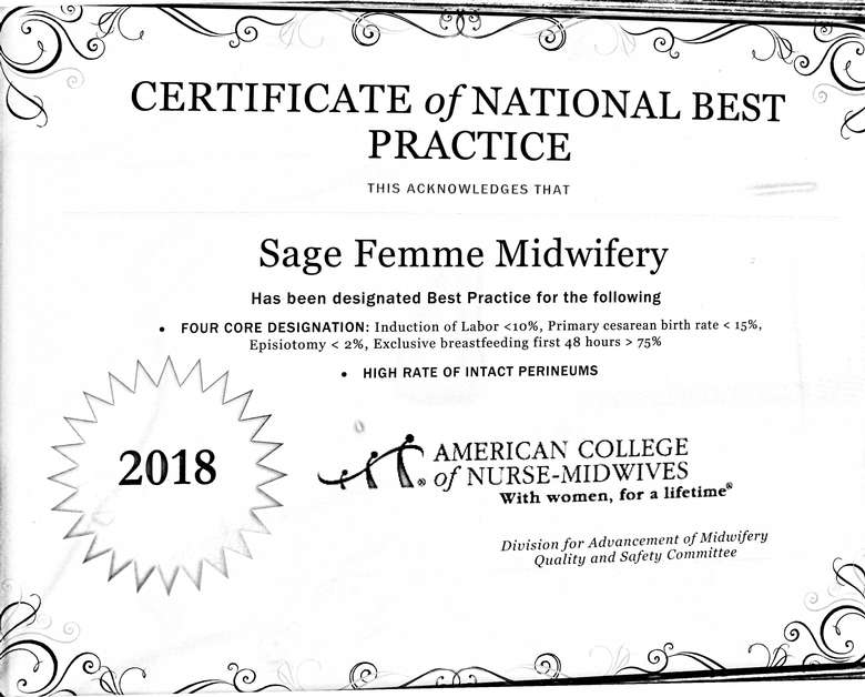 certificate of national best practice written to sage-femme midwifery