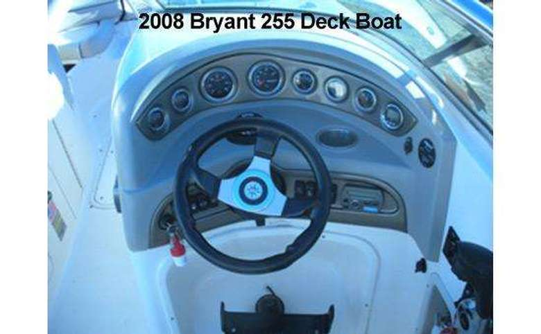 the steering wheel and front area of a boat